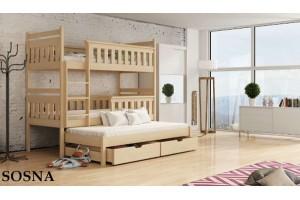 Łóżko piętrowe 3-osobowe ROSA 90/200 + materace