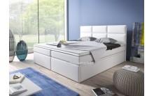 Łóżko tapicerowane INTERIA 140/200 + 2 szuflady, materac bonell