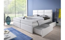 Łóżko tapicerowane INTERIA 180/200 + 2 szuflady, materace kieszeniowe