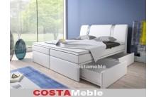 Łóżko tapicerowane BOXRIVA 140/200 + 2 szuflady, materace bonellowe