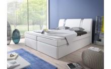 Łóżko tapicerowane BOXRIVA 140/200 + 2 szuflady, materace kieszeniowe