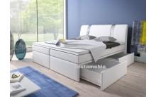 Łóżko tapicerowane BOXRIVA 140/200 + 4 szuflady, materace bonellowe