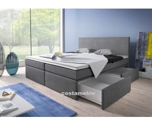 Łóżko tapicerowane LINE 160/200 + 2 szuflady, materace kieszeniowe