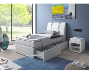 Łóżko tapicerowane RIVA 90/200 +2 szuflady, materac bonellowy